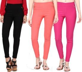 Dharamanjali Girl's Black, Orange, Pink Jeggings Pack Of 3