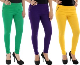 Paulzi Women's Green, Purple, Yellow Jeggings Pack Of 3