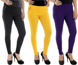 Paulzi Women's Black, Yellow, Purple Jeggings Pack Of 3