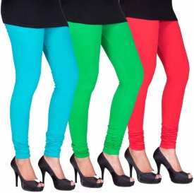 Fashion Flow+ Women's Light Blue, Green, Red Leggings Pack Of 3