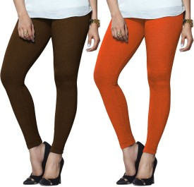Lux Lyra Women's Brown, Orange Leggings Pack Of 2