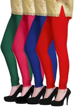 PI World Women's Green, Pink, Blue, Red Leggings Pack Of 4