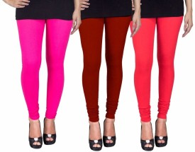 Fashion Flow+ Women's Pink, Maroon, Red Leggings Pack Of 3