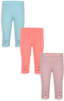 Mothercare Baby Girl's Grey, Blue, Pink Leggings Pack Of 2