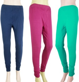 VR Designers Women's Blue, Pink, Green Leggings Pack Of 3