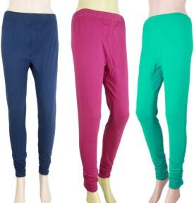 VR Designers Women's Blue, Pink, Green Leggings Pack Of 3