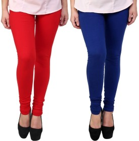 Stylobby Women's Red, Blue Leggings Pack Of 2