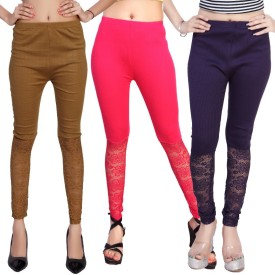 Comix Women's Beige, Brown, Pink, Purple Leggings Pack Of 3