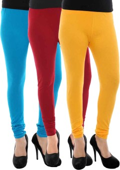Paulzi Women's Blue, Yellow, Maroon Leggings Pack Of 3