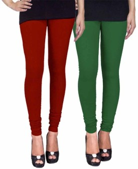 Fashion Flow+ Women's Maroon, Dark Green Leggings Pack Of 2