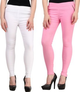 Roma Creation Girl's White, Pink Jeggings Pack Of 2