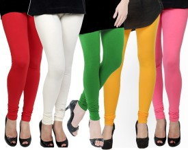 Kjaggs Women's Red, White, Green, Yellow, Pink Leggings Pack Of 5