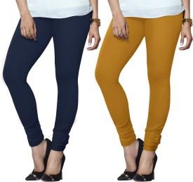 Lux Lyra Women's Dark Blue, Yellow Leggings Pack Of 2