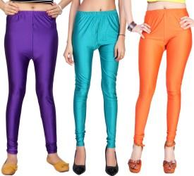 Comix Women's Purple, Light Blue, Orange Leggings Pack Of 3