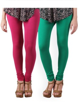 HiFi Women's Pink, Green Leggings Pack Of 2