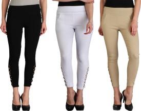 Skyline Trading Women's Black, White, Beige Leggings Pack Of 3