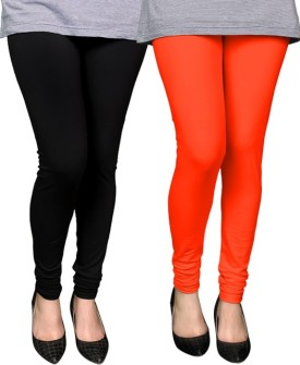 PAMO Women's Black, Orange Leggings Pack Of 2
