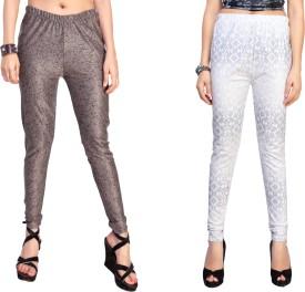 Louis Fashion Women's Brown, White, Grey Leggings Pack Of 2
