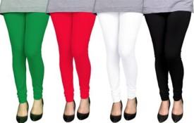 Kays Women's Black, White, Red, Green Leggings Pack Of 4