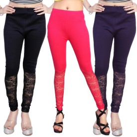 Comix Women's Dark Blue, Pink, Purple Leggings Pack Of 3