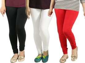 Radha's Women's Black, White, Red Leggings Pack Of 3