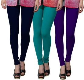 Both11 Women's Dark Blue, Green, Purple Leggings Pack Of 3