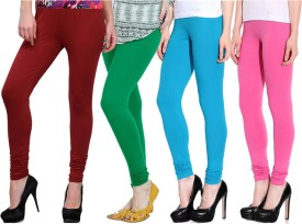 NGT Women's Maroon, Green, Light Blue, Pink Leggings Pack Of 4