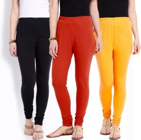 Ten On Ten Women's Yellow, Black, Orange Leggings Pack Of 3