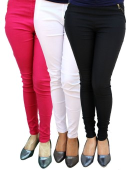 Legemat Women's Pink, White, Black Jeggings Pack Of 3