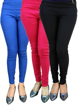 Stylobby Women's Blue, Pink, Black Jeggings Pack Of 3