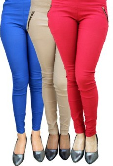 Roma Creation Women's Blue, Beige, Red Jeggings Pack Of 3