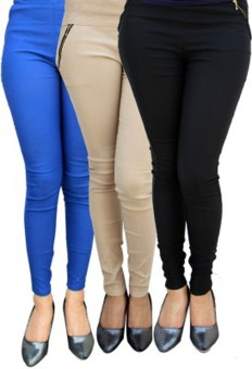 Roma Creation Women's Blue, Beige, Black Jeggings Pack Of 3