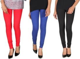 Ally Of Focker Women's Red, Blue, Black Leggings Pack Of 3