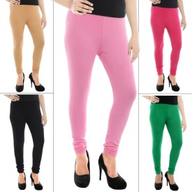 Paulzi Women's, Girl's Beige, Black, Pink, Green Leggings Pack Of 5