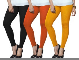 Lux Lyra Women's Black, Orange, Yellow Leggings Pack Of 3