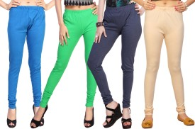 Comix Women's Light Blue, Light Green, Grey, Beige Leggings Pack Of 4