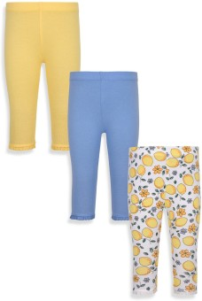Mothercare Baby Girl's White, Blue, Yellow Leggings Pack Of 3