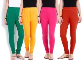 Ten On Ten Women's Pink, Orange, Yellow, Green Leggings Pack Of 5