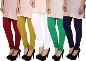 Fizzaro Women's Red, Green, White, Blue, Green Leggings Pack Of 5