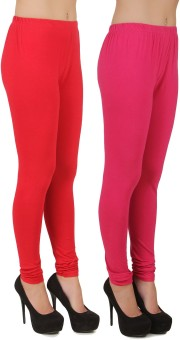 Stylishbae Women's Red, Pink Leggings Pack Of 2