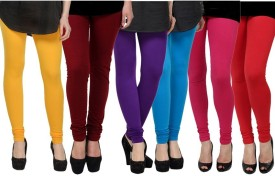 Pi World Women's Yellow, Maroon, Purple, Blue, Pink, Red Leggings Pack Of 6