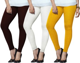 Lux Lyra Women's Maroon, White, Yellow Leggings Pack Of 3