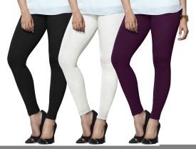 Lux Lyra Women's Black, White, Purple Leggings Pack Of 3