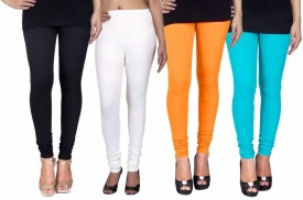 Fashion Flow+ Women's Black, White, Yellow, Light Blue Leggings Pack Of 4