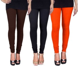Fashion Flow+ Women's Brown, Black, Orange Leggings Pack Of 3