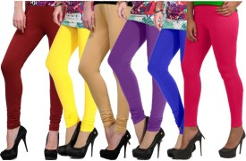 Ngt Women's Maroon, Yellow, Beige, Purple, Blue, Pink Leggings Pack Of 6