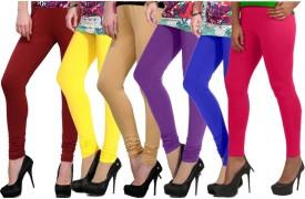 Ngt Women's Maroon, Yellow, Beige, Purple, Blue, Pink Leggings Pack Of 6