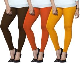 Lux Lyra Women's Brown, Orange, Yellow Leggings Pack Of 3