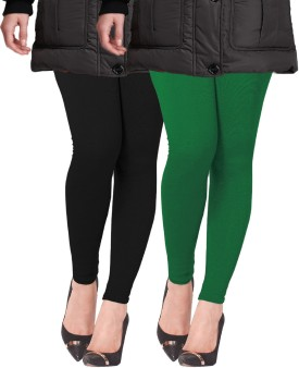 Lux Lyra Women's Black, Dark Green Leggings Pack Of 2
