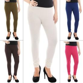 Paulzi Women's, Girl's White, Brown, Blue, Pink Leggings Pack Of 5